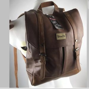 Zebella Unisex Faux Leather Brown Backpack